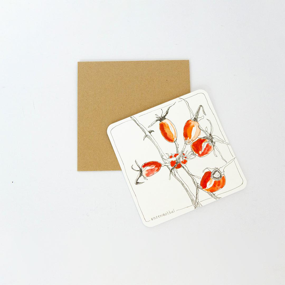 Bevlogen getekend kaartje rozenbottel